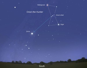 The constellation of Orion in the southwest sky
