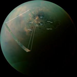 A diagram showing the layout of lakes at Titan's North Pole.