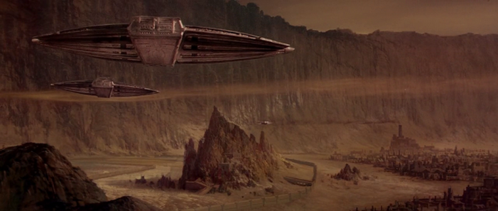 A HD still from the 1984 film, featuring one of Albert Whitlock's finest matte paintings.