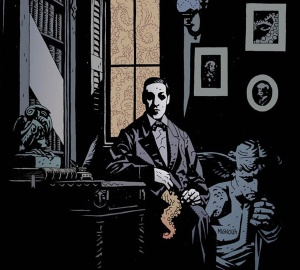 A portrait of H. P. Lovecraft by Mike Mignola, the creator of Hellboy.
